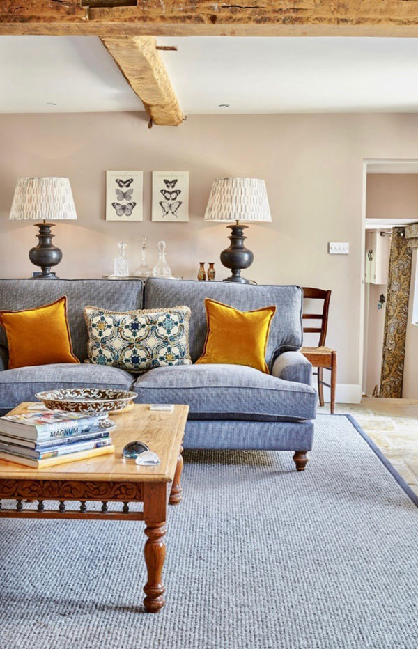 Use of orange in a Cotswold cottage for holiday letting