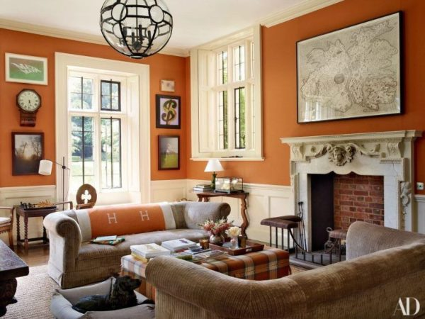 Burnt orange walls in an English Country home