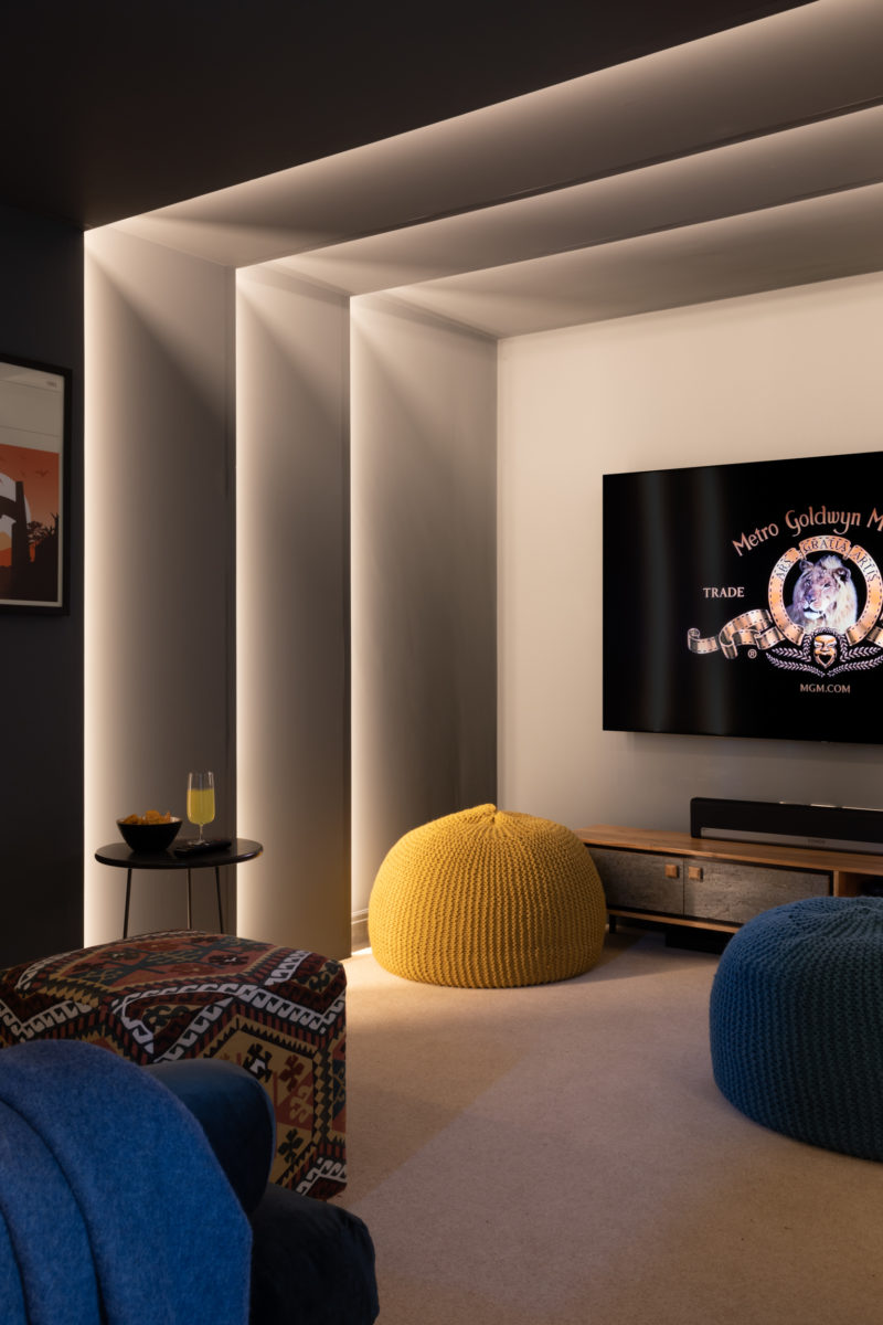Home cinema room in Farrow & Ball downpipe; dark and cosy room for winter evening TV