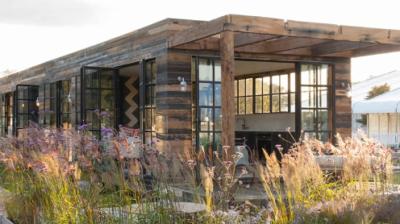 Fabulous garden studio by Bert's Box. Wood garden room with steel windows