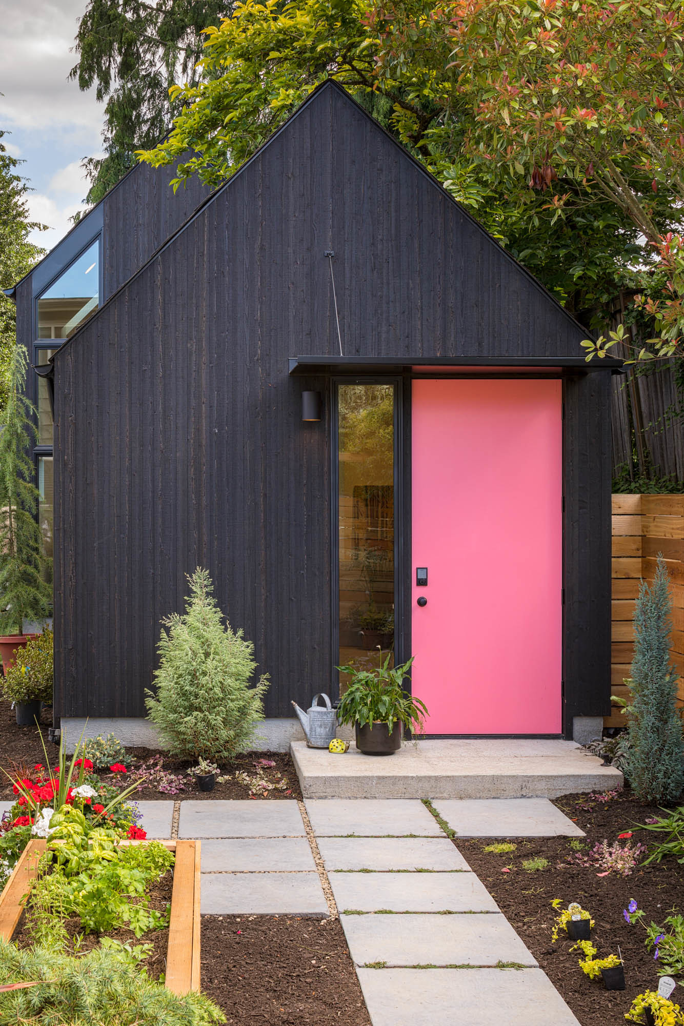 She Shed with pink door