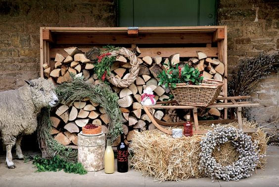 christmas decorations and logs and wreaths at Daylesford organic