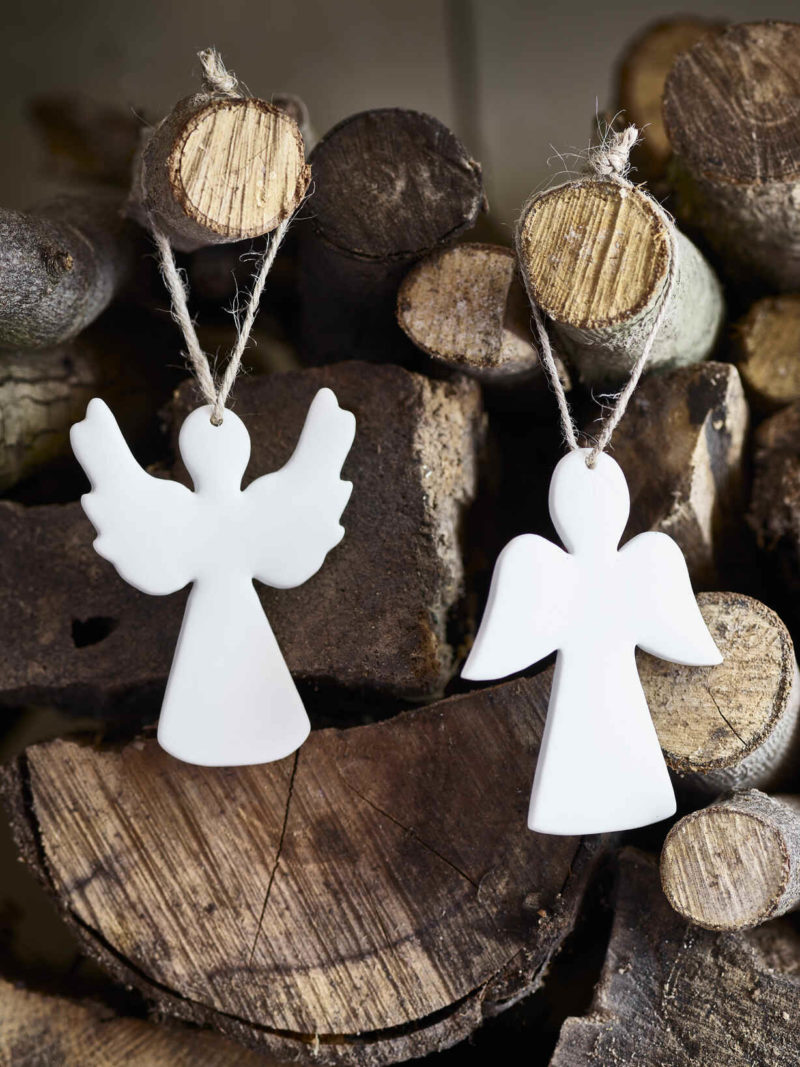 Scandi Christmas with white angels and natural logs
