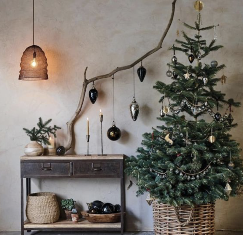 christmas tree decorated with sideboard and pendant light
