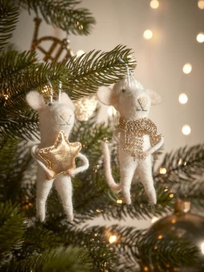 felt christmas mice on a tree