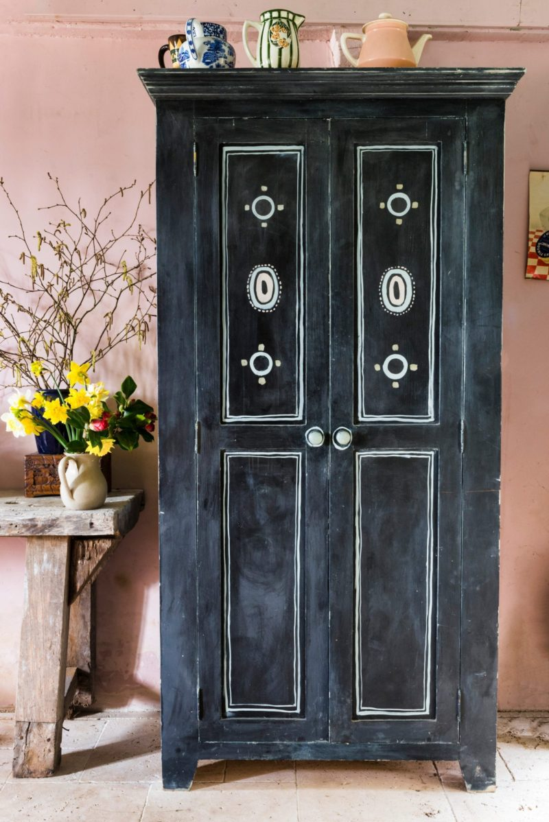 Painted cupboard with stencils