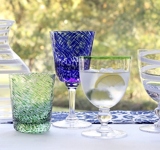 william meowed coloured glassware in blue and green