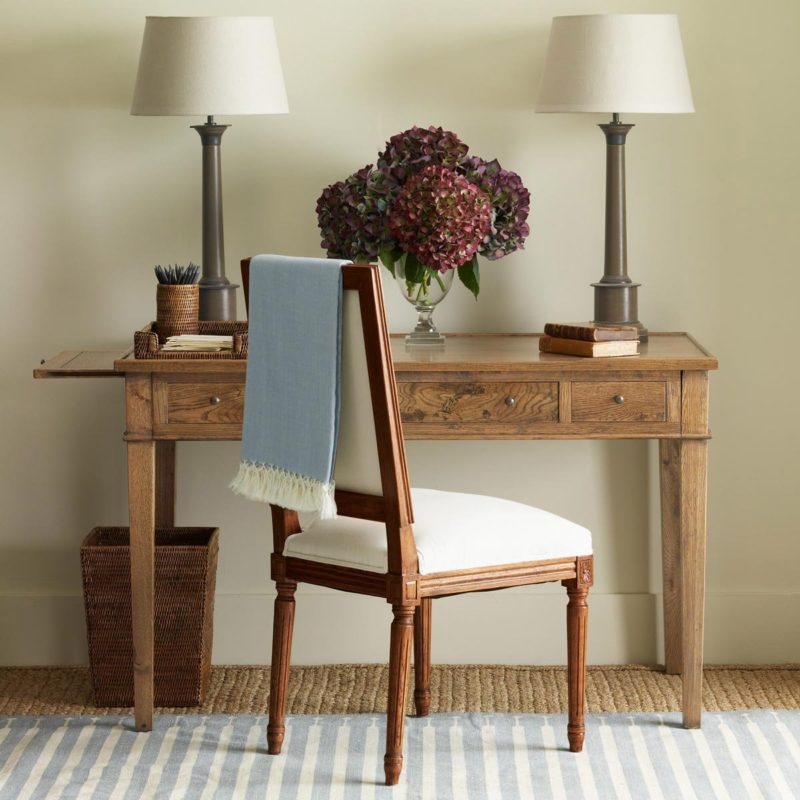 Oka desk with lamps and chair