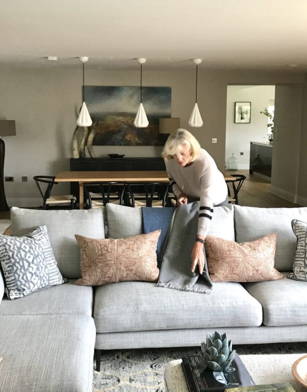 styling cushions in Cotswold barn conversion