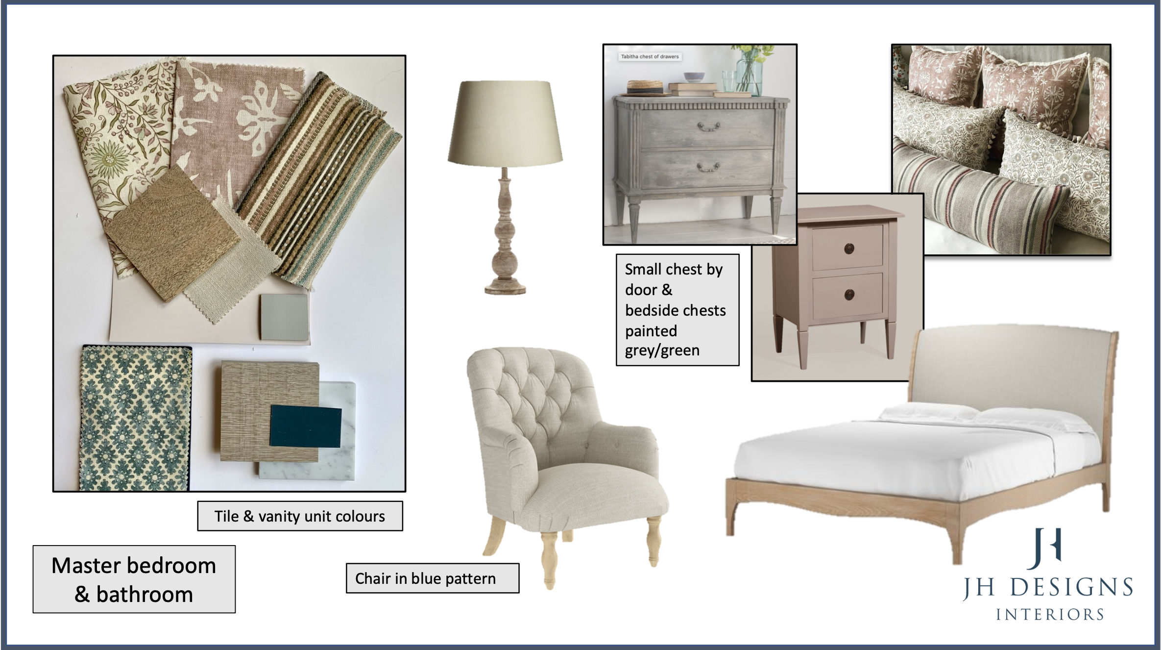mood board showing pink & earth colours with touch of blue